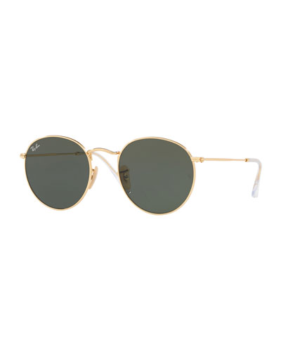 784257477a3 Monochromatic Round Metal Sunglasses