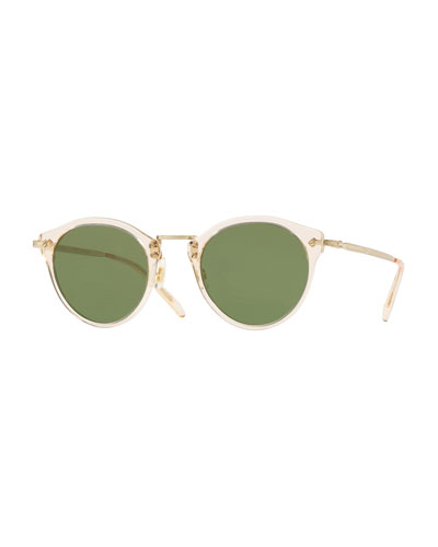 Semitransparent Acetate & Metal Round Sunglasses