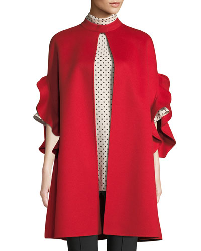 2a33ade6054 Ruffle-Sleeve Open-Front Wool-Cashmere Coat