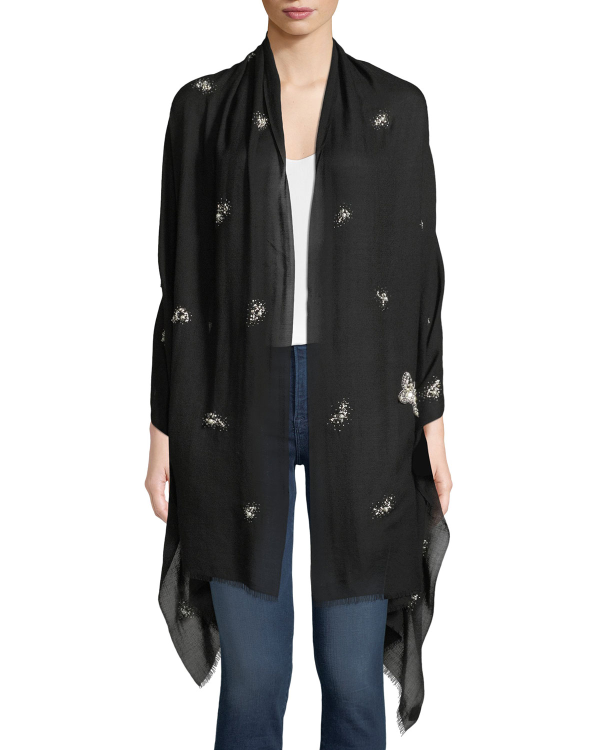 K JANAVI Pearlescent Butterfly Cashmere Scarf in Black