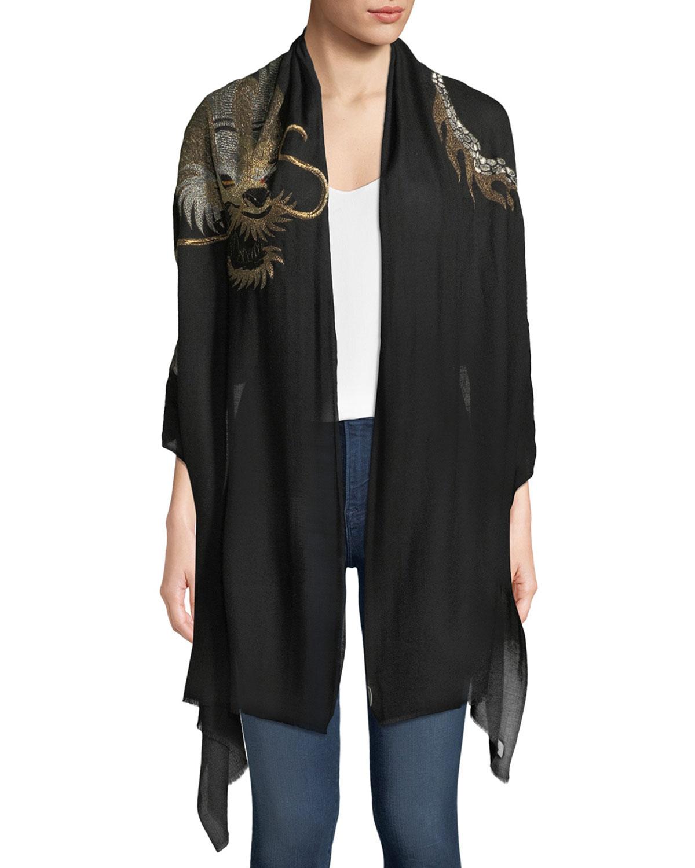 K. JANAVI Dragon Embroidered Cashmere Scarf in Black