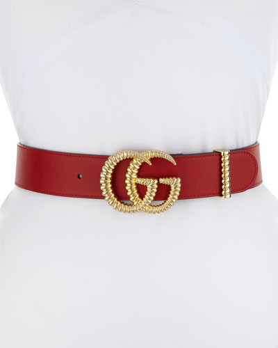 Moon Leather Belt w/ Textured GG Buckle, 1.5