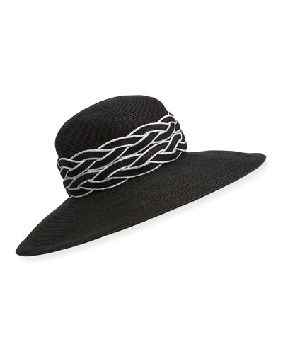 Deauville Gangster Fedora Hat w/ Braided Trim