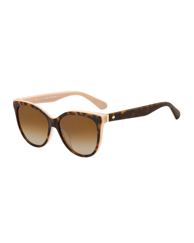 daeshas round polarized acetate sunglasses, brown/pink