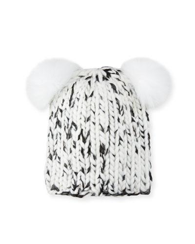 50d43517c02 Mimi Metallic Knit Beanie Hat w  Fur Pompoms