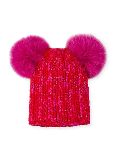4df43e685c1 Mimi Metallic Knit Beanie Hat w  Fur Pompoms