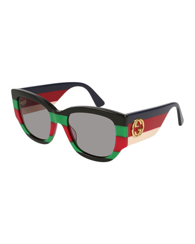 3142c8793f5 Dual-Striped Oversized Rectangle Sunglasses Quick Look. Gucci