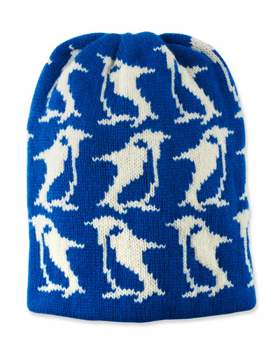 Wool-Cashmere Penguin-Intarsia Beanie Hat
