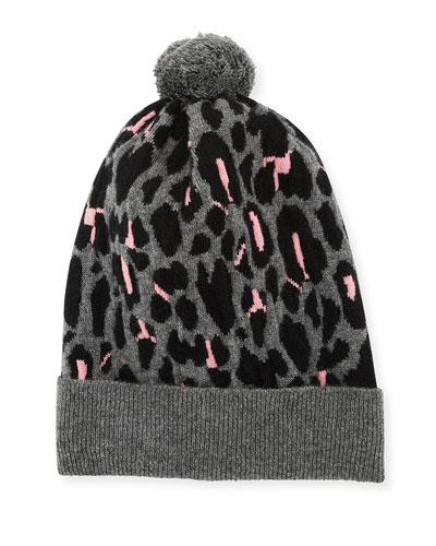 Rib-Knit Leopard Intarsia Cashmere Beanie Hat