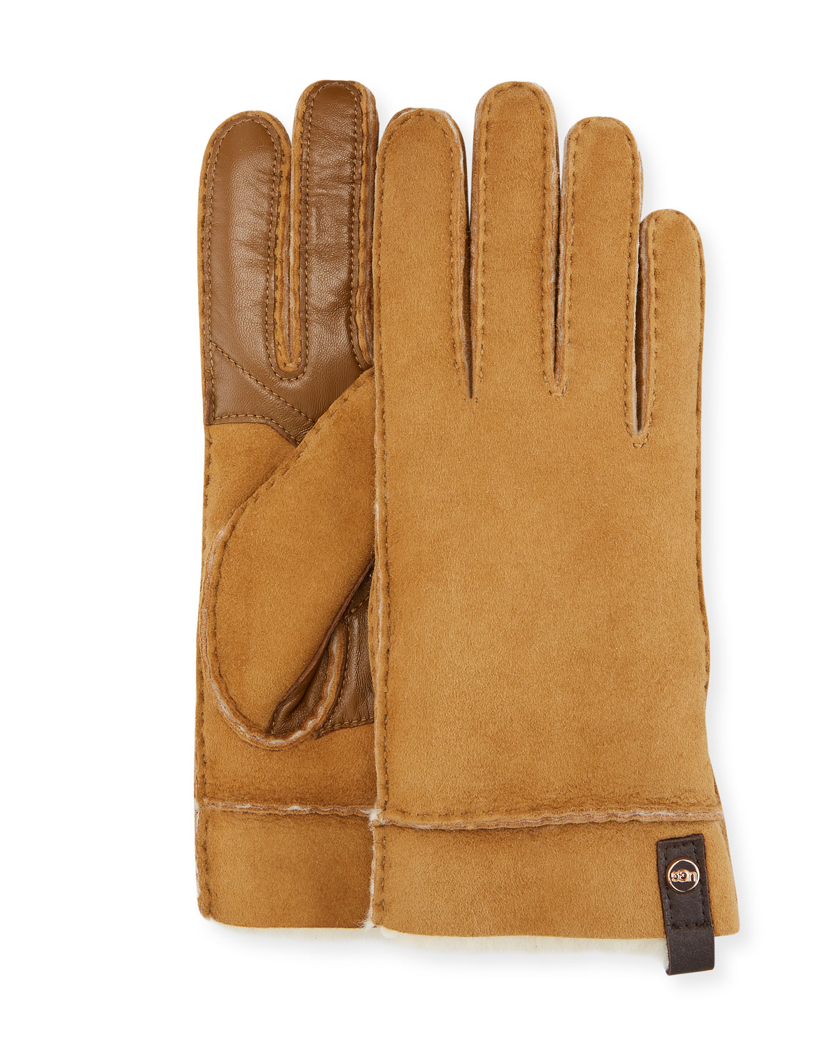 Tenney Suede & Leather Gloves W/ Shearling Lining in Chestnut