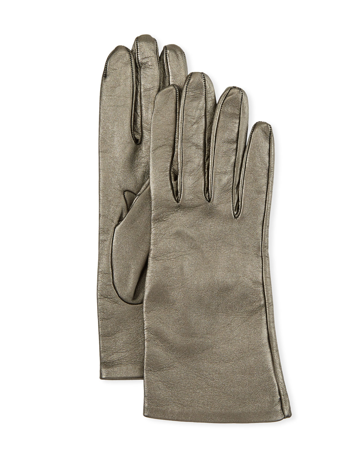Metallic Napa Leather Gloves in Anthracite