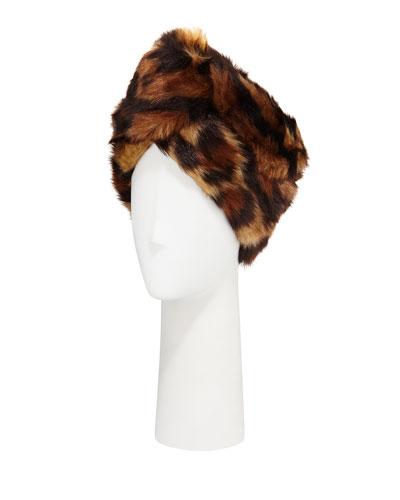 Leopard Print Faux-Fur Head Wrap