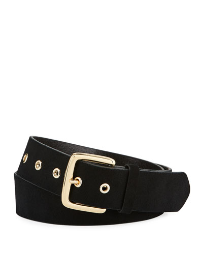 Square-Buckle Leather Grommet Belt