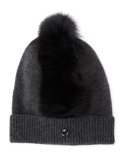 Cashmere Beanie Hat w/ Fur Mohawk