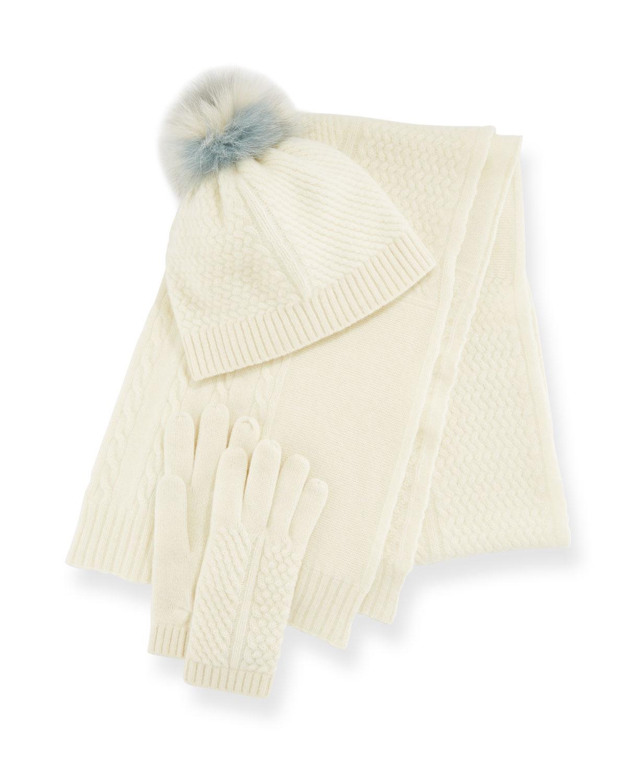 PORTOLANO Cashmere Hat, Scarf & Gloves Set in Gray/Pink