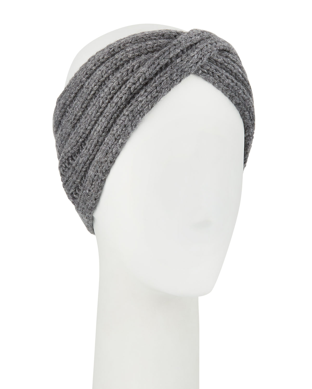 IL BORGO Knit Ear-Warmer Headband in Black