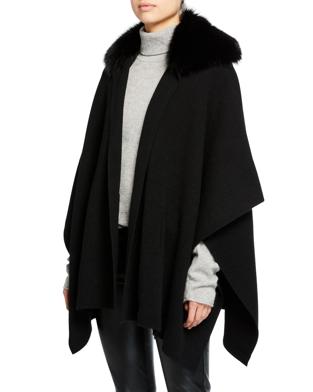 SOFIA CASHMERE Button Cashmere Cape W/ Fur Collar in Black