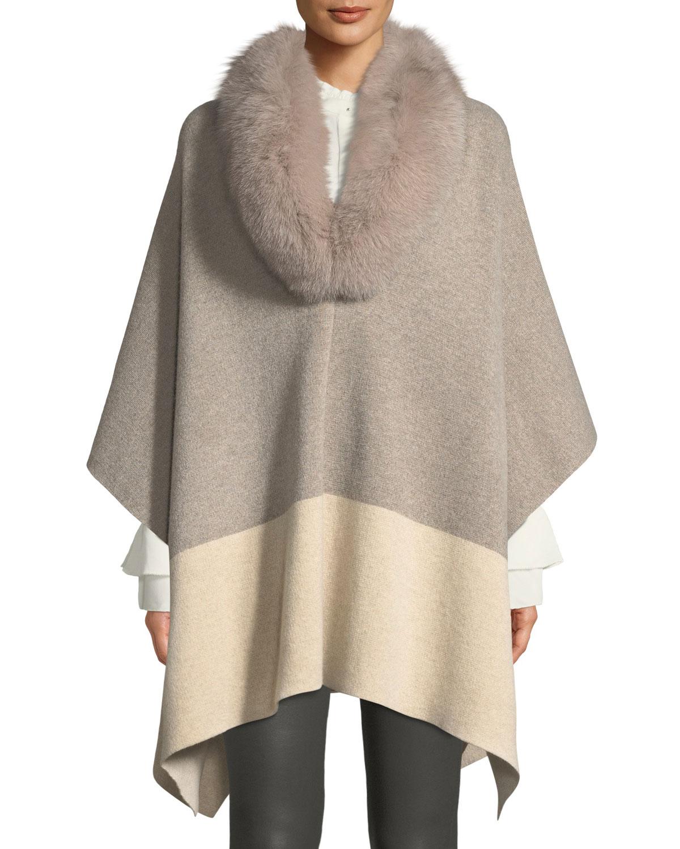 SOFIA CASHMERE Fur-Color Colorblock Poncho in Taupe/Oatmeal