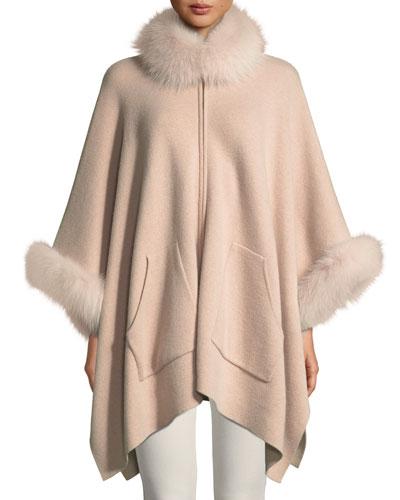 e42d8061d7646b Double-Face Cashmere Zip-Front Poncho w  Fur Trim