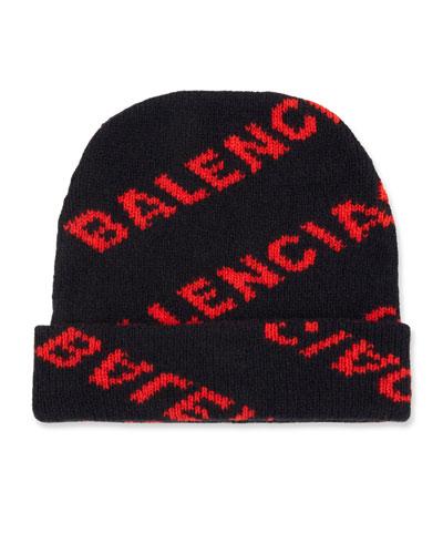 Jacquard Knit Logo Beanie Hat