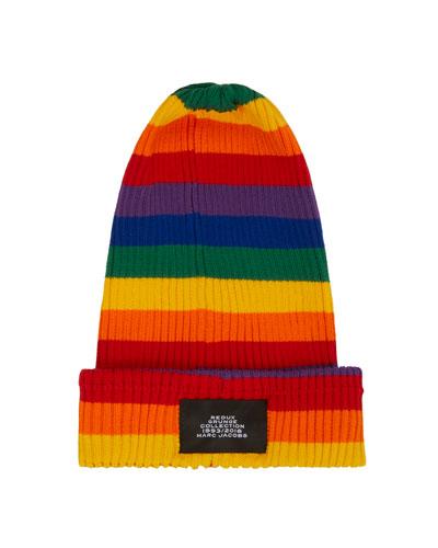Marc Jacobs Grunge Redux Rainbow-Striped Rib-Knit Beanie Hat