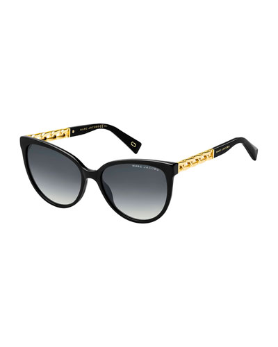 Round Gradient Sunglasses w/ Curb Chain Arms