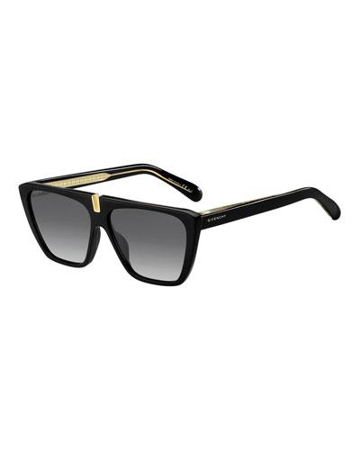 Gradient Rectangle Metal-Trim Sunglasses
