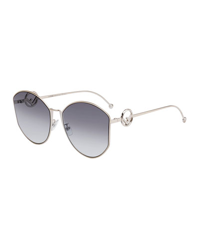 Round Gradient Metal Sunglasses