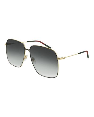 798ff81892c Square Metal Sunglasses w  Web Ear Tips