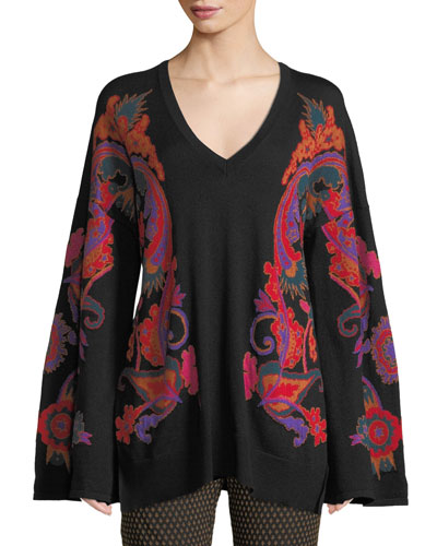 V-Neck Paisley-Intarsia Tie-Back Sweater