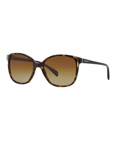 Square Gradient Arrow-Edge Sunglasses, Black