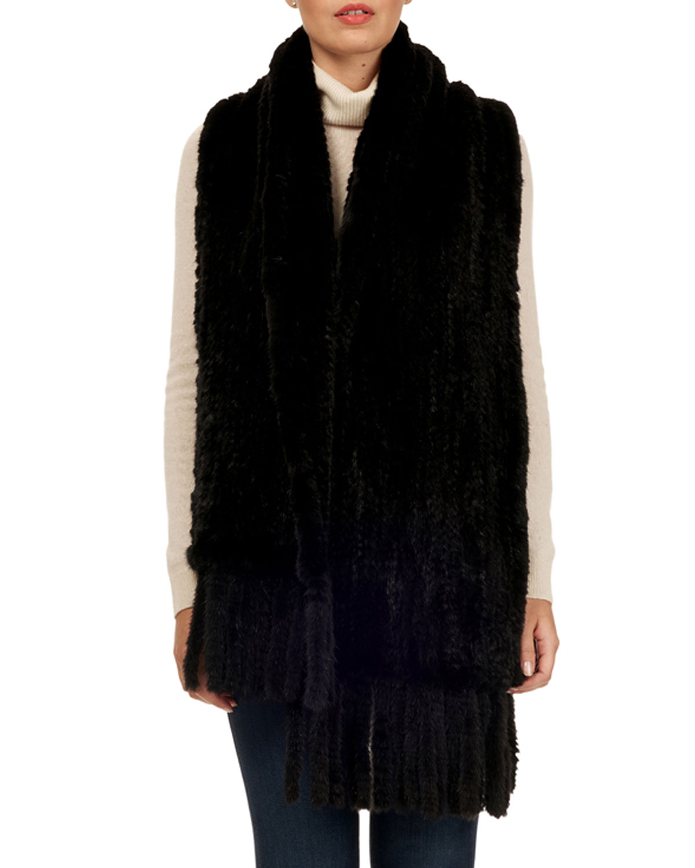 GORSKI S-Cut Mink Fur Stole W/ Fringe Trim in Black