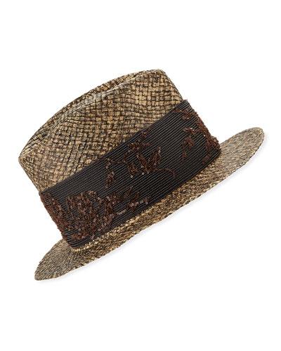 Monili-Wrapped Straw Fedora Hat 4e7706ca3f79