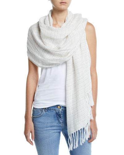 Shimmer Micro-Striped Linen Scarf