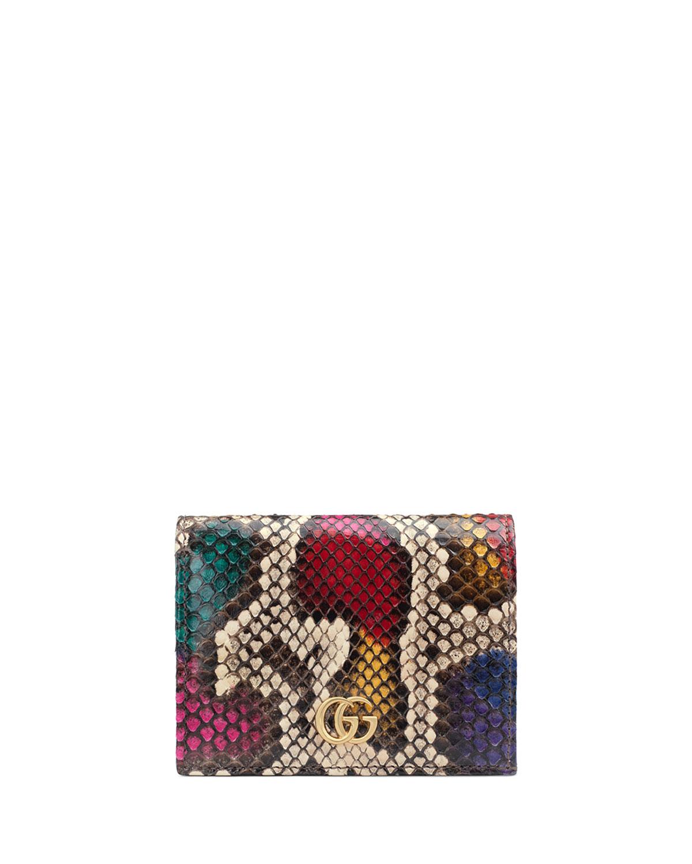 Gucci Leathers PETITE MARMONT COLORBLOCK PYTHON FLAP CARD CASE