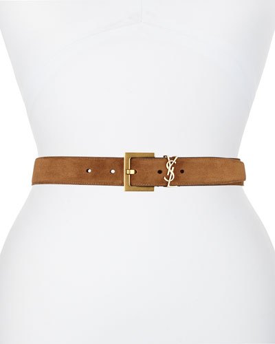 c9d2e67744f Golden YSL Monogram Suede Belt Quick Look. Saint Laurent