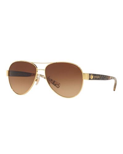 Gradient Metal Aviator Sunglasses w/ Leopard-Print Acetate Arms