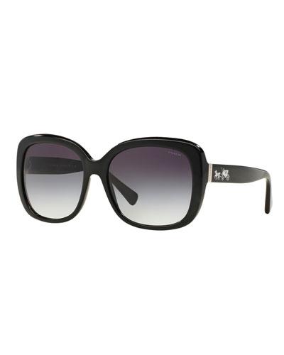 Gradient Square Sunglasses w/ Logo Temples