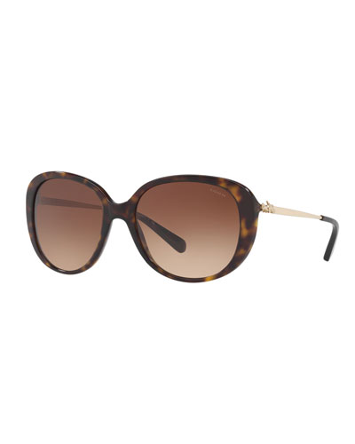 Oval Acetate Sunglasses w/ 3D Stagecoach Detail