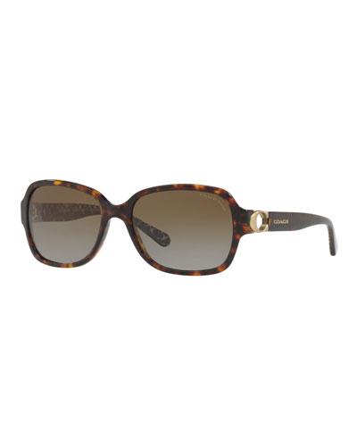 Rectangle Acetate Sunglasses w/ Cutout Logo Temples