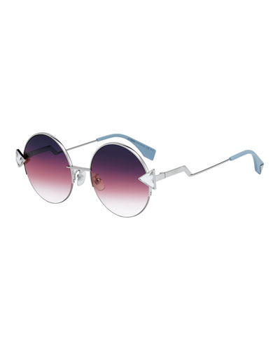 Fendi Round Gradient Sunglasses w/ Triangle Crystal Trim