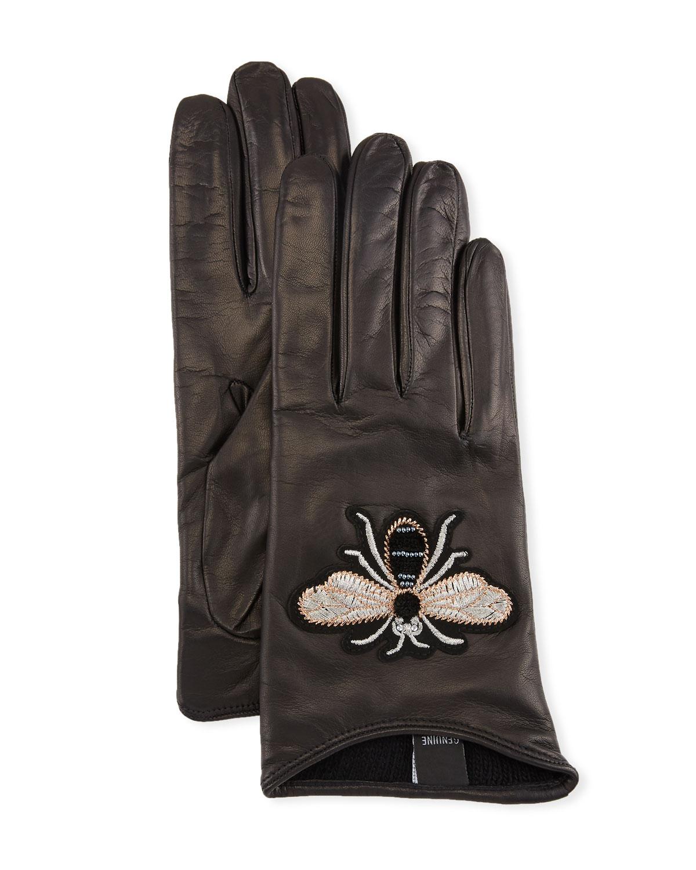 GUANTI GIGLIO FIORENTINO Embroidered Bee Leather Gloves in Black