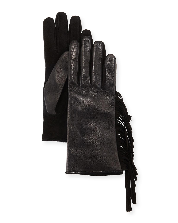 Leather & Suede Fringe Gloves in Black