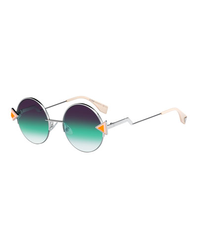 188062702e Studded Round Gradient Sunglasses w  Stepped Temples