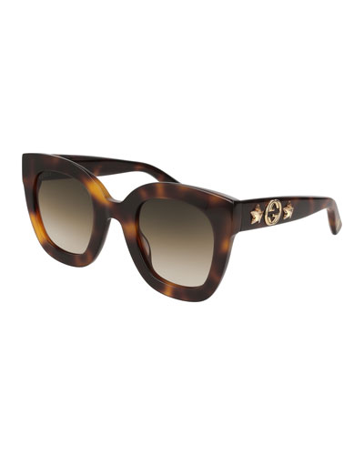 Rectangle Acetate GG Sunglasses w/ Crystal Stars, Brown Pattern