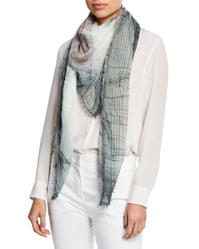 Krizia Abstract Fringe Scarf