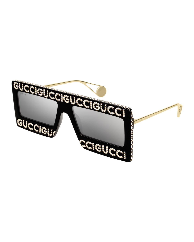 Crystal Logo Shield Sunglasses in Black/Gold/Gray