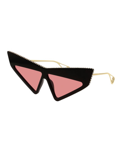 Gucci Crystal Studded Acetate Mask Cat-Eye Sunglasses
