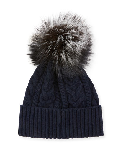 Cable-Knit Beanie Hat w/ Fox Fur