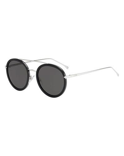 22537275e54 Trimmed Round Monochromatic Sunglasses